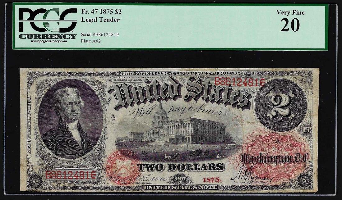 1875 $2 Legal Note PCGS Very Fine 20