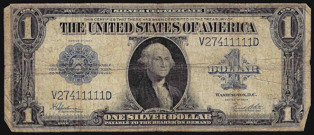 1923 $1 Silver Certificate Note Fancy Serial Number