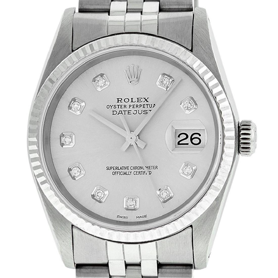 Mens Rolex 36mm Stainless Steel Silver Diamond Datejust