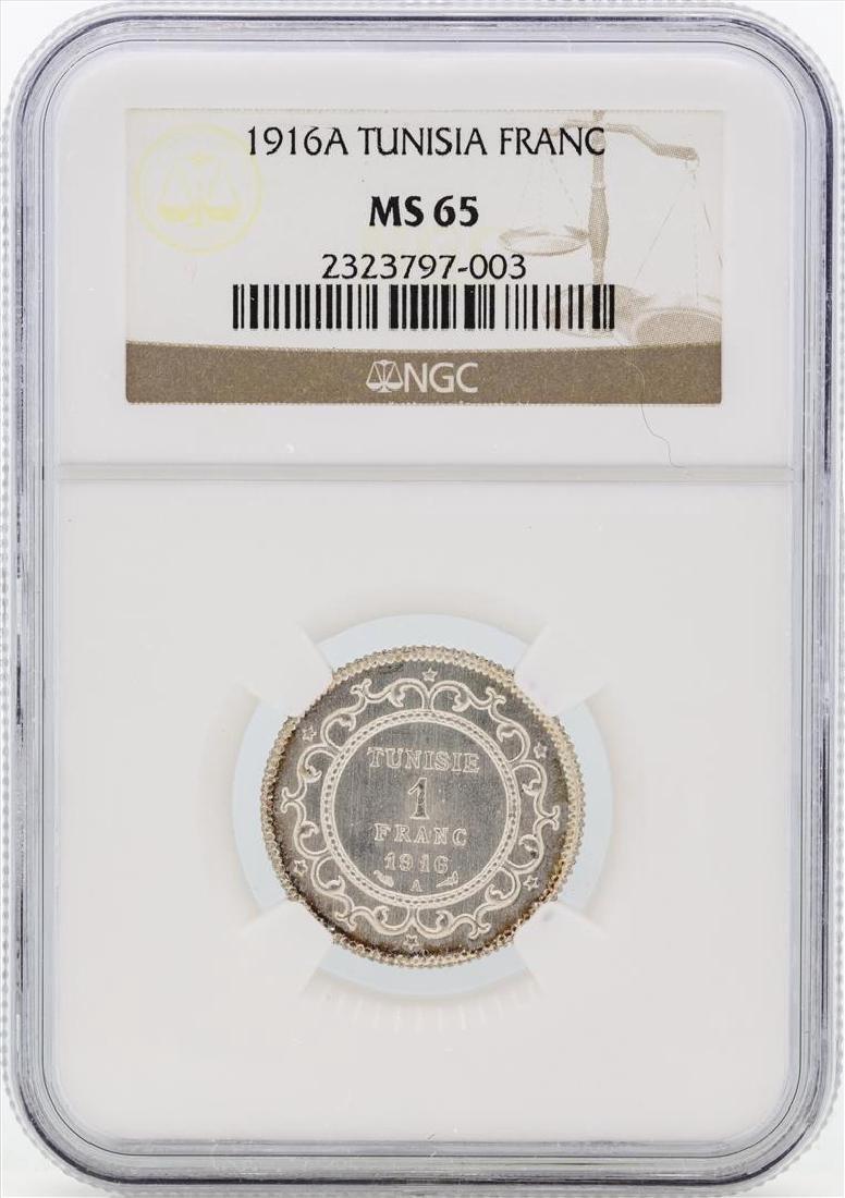 1916A Tunisia Franc Silver Coin NGC MS65