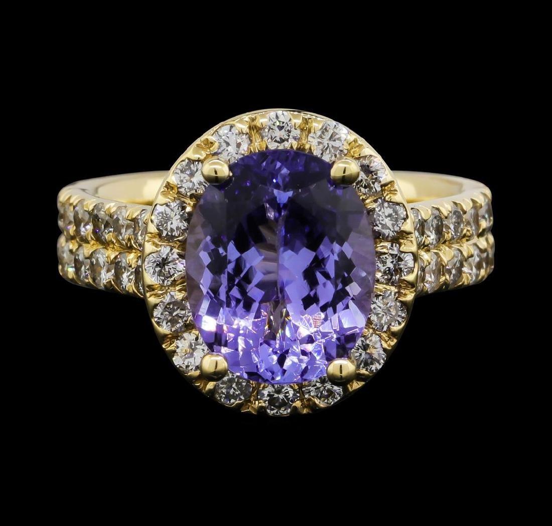 14KT White Gold 3.26ct Tanzanite and Diamond Ring
