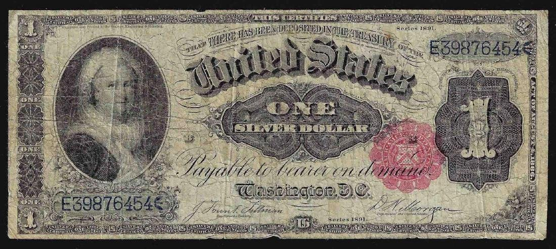 1891 $1 Silver Certificate Martha Washington Note