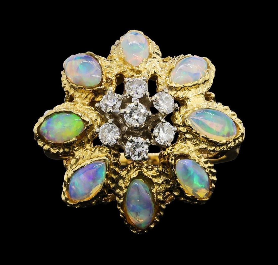 18KT Yellow Gold 2.00ctw Opal and Diamond Ring