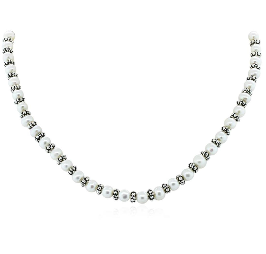 Cultured White Pearl Necklace, Bracelet and Earring Set - 2