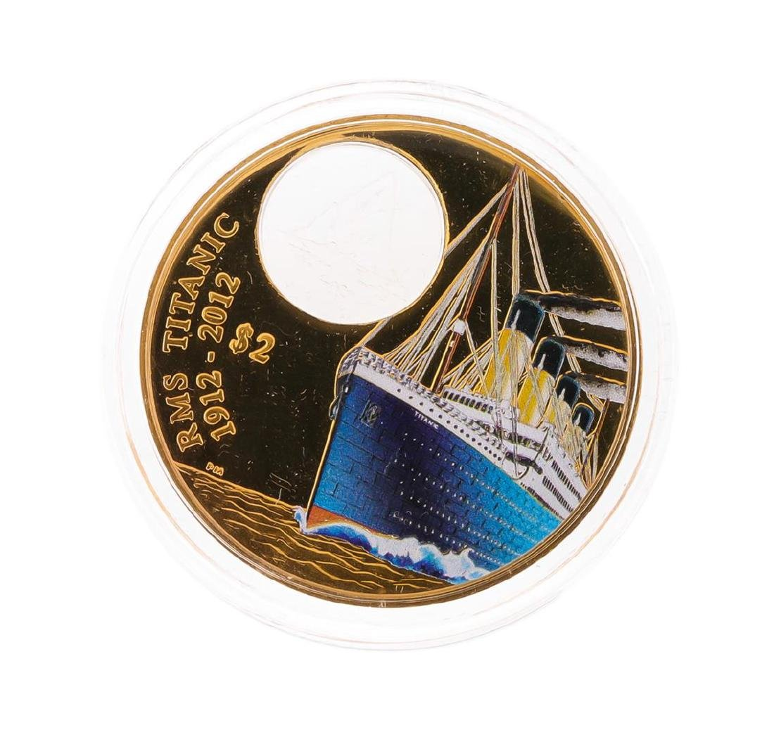 2012 $2 Titanic British Virgin Islands Bronze Coin with - 2
