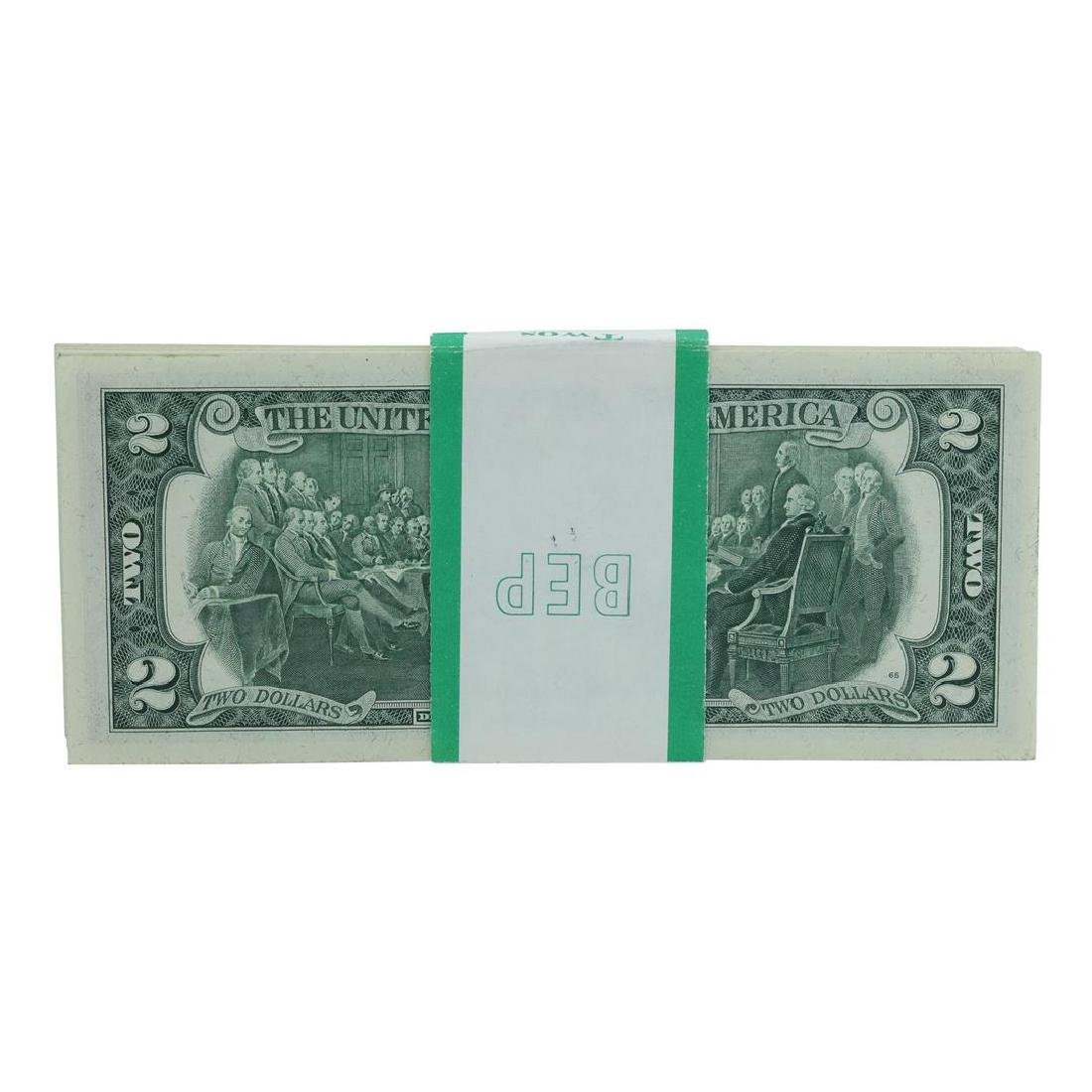 Pack of (100) Consecutive 1976 $2 Federal Reserve Notes - 2