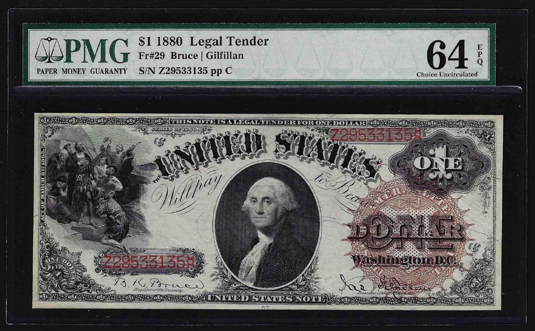 1880 $1 Legal Tender Note PMG Choice Uncirculated 64EPQ