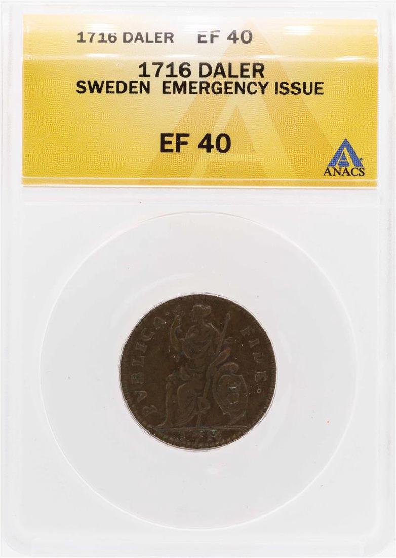 1716 Sweden Emergency Issue Daler Coin ANACS XF40