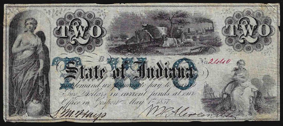 1857 $2 State of Indiana Obsolete Note