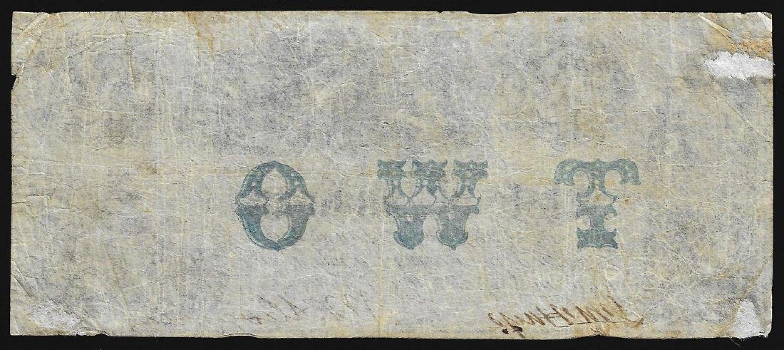 1857 $2 State of Indiana Obsolete Note - 2
