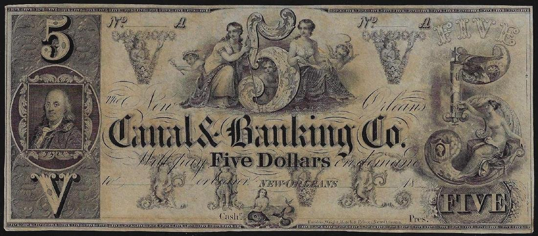 1800s $5 Canal Banking Co. New Orleans Obsolete Bank