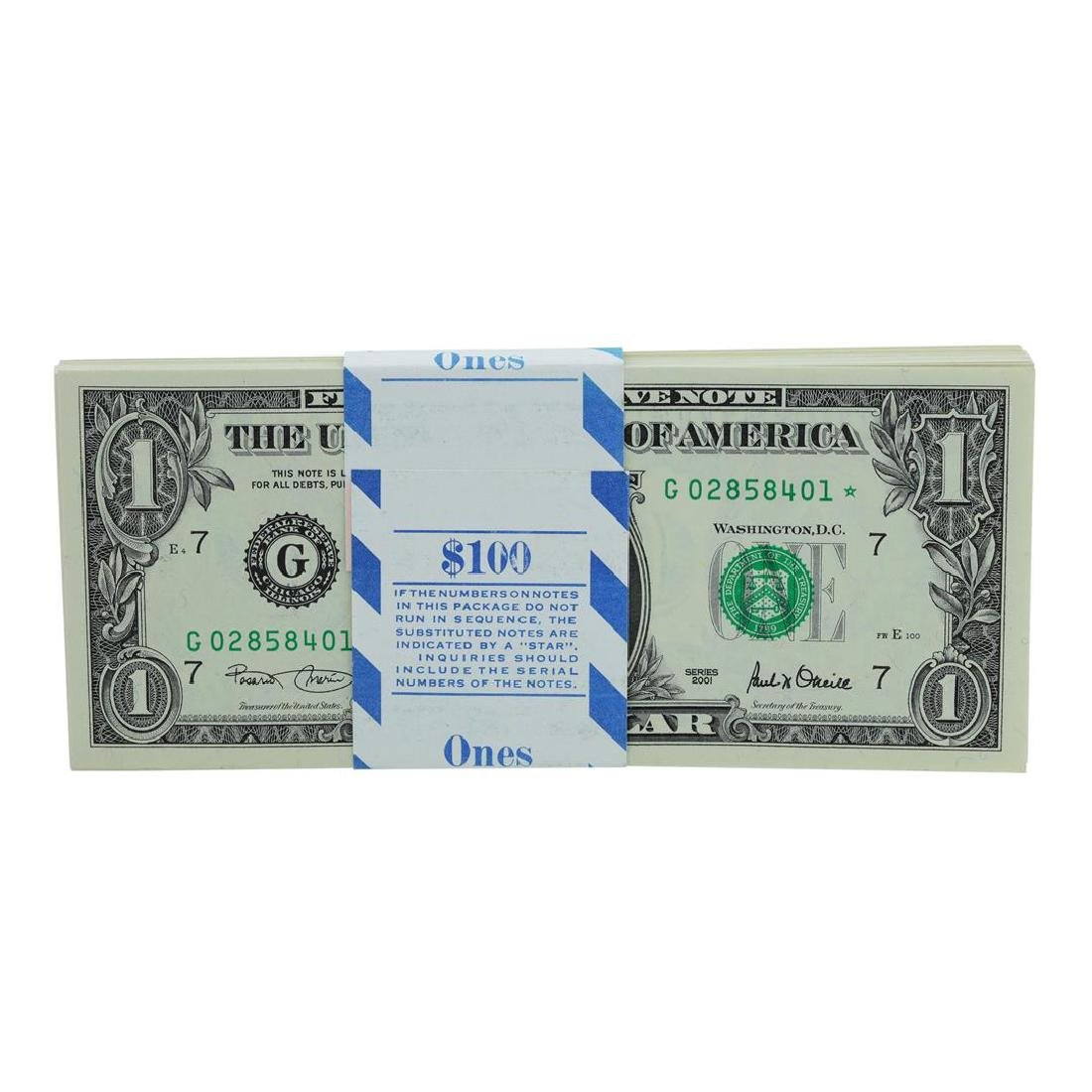 Pack of (100) Consecutive 2001 $1 Federal Reserve STAR