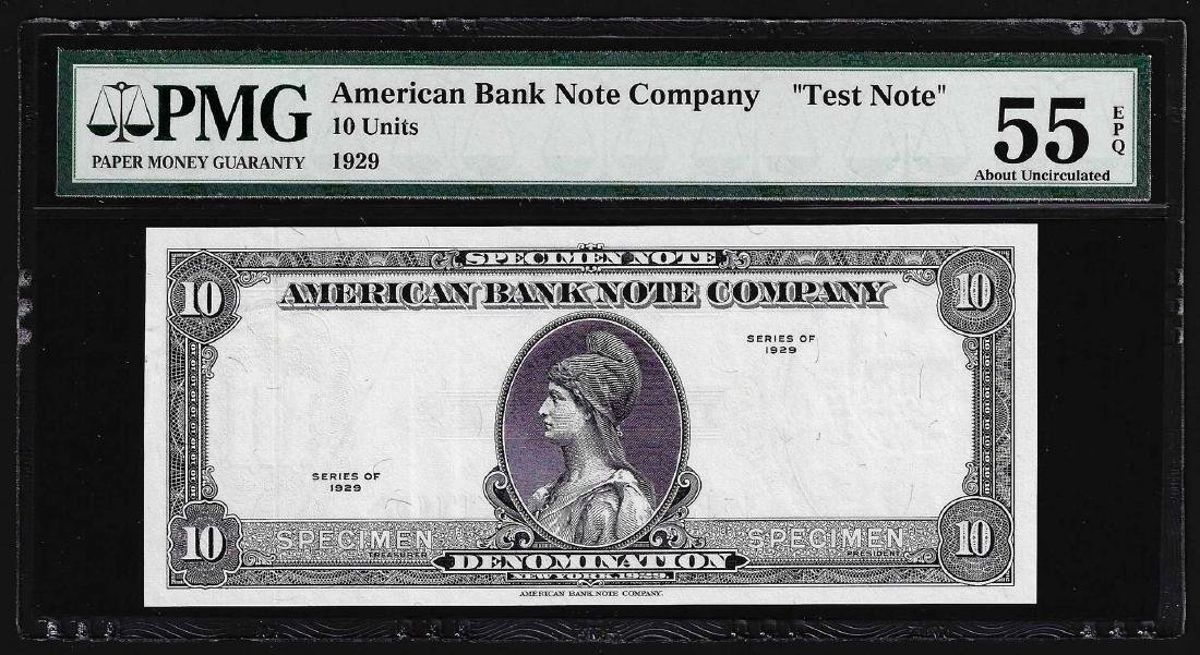 1929 American Bank Note Company Test Note 10 Units PMG