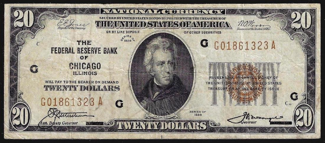 1929 $20 The Federal Reserve Bank of Chicago National