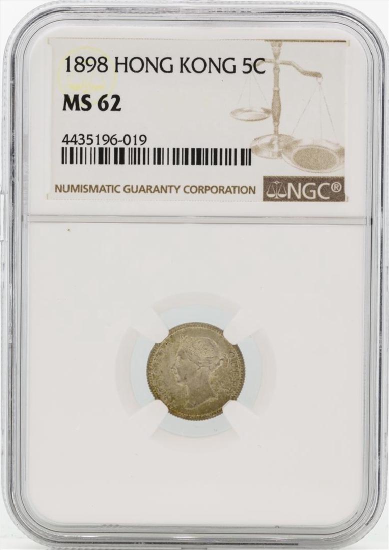 1898 Hong Kong 5 Cents Silver Coin NGC MS62