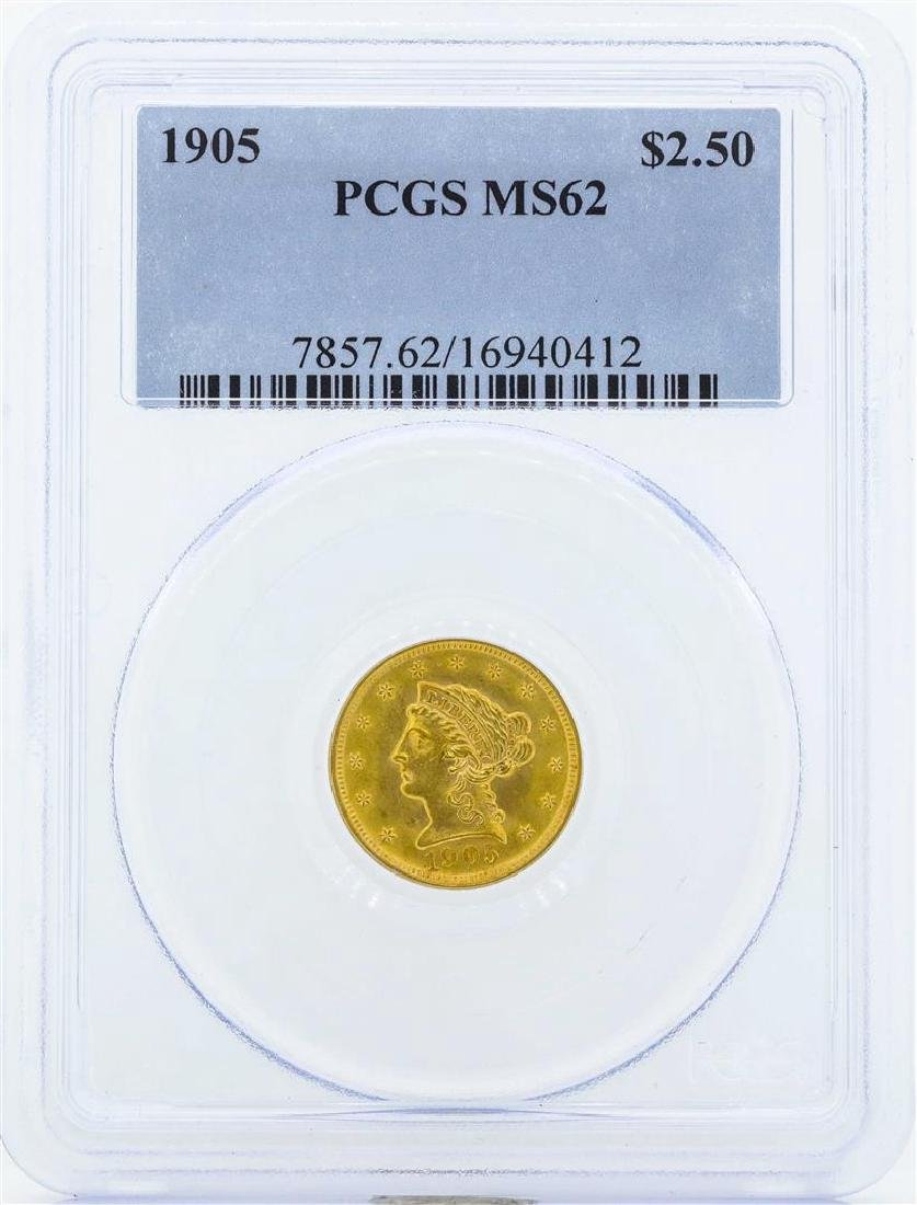 1905 $2 1/2 Liberty Head Quarter Eagle Gold Coin PCGS