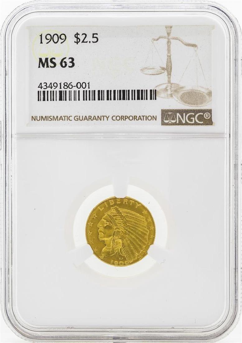 1909 $2 1/2 Indian Head Quarter Eagle Gold Coin NGC