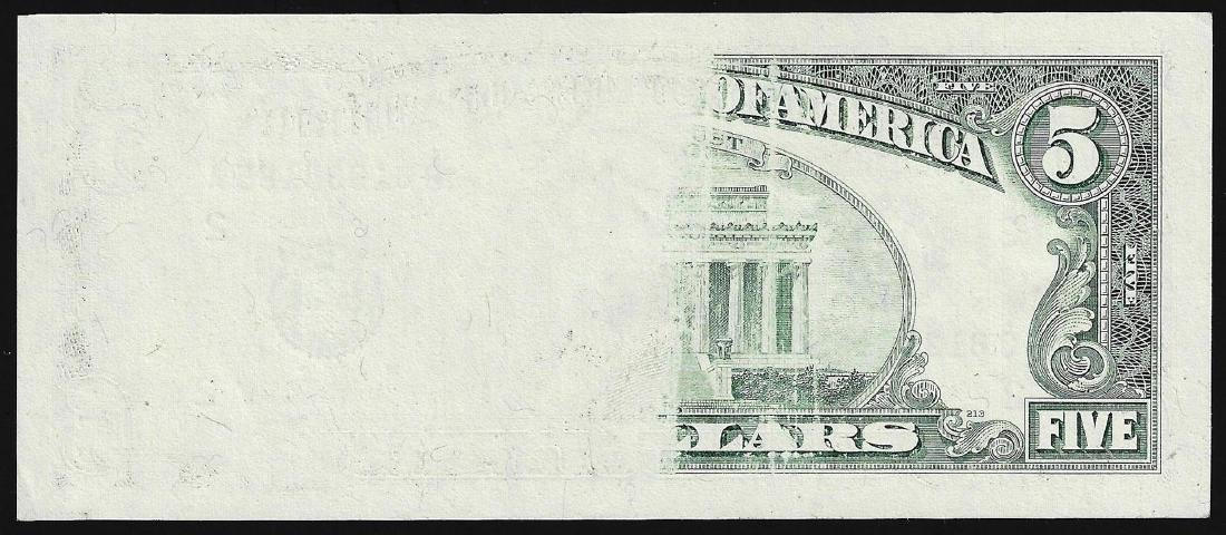 1995 $5 Federal Reserve Note ERROR Insufficient Ink