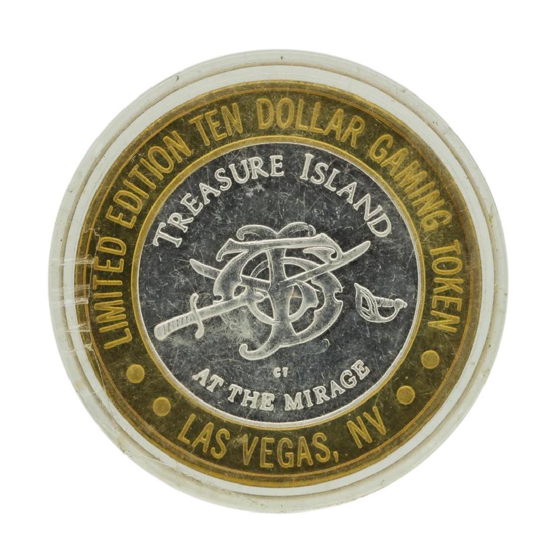 .999 Silver Treasure Island Las Vegas $10 Casino - 2