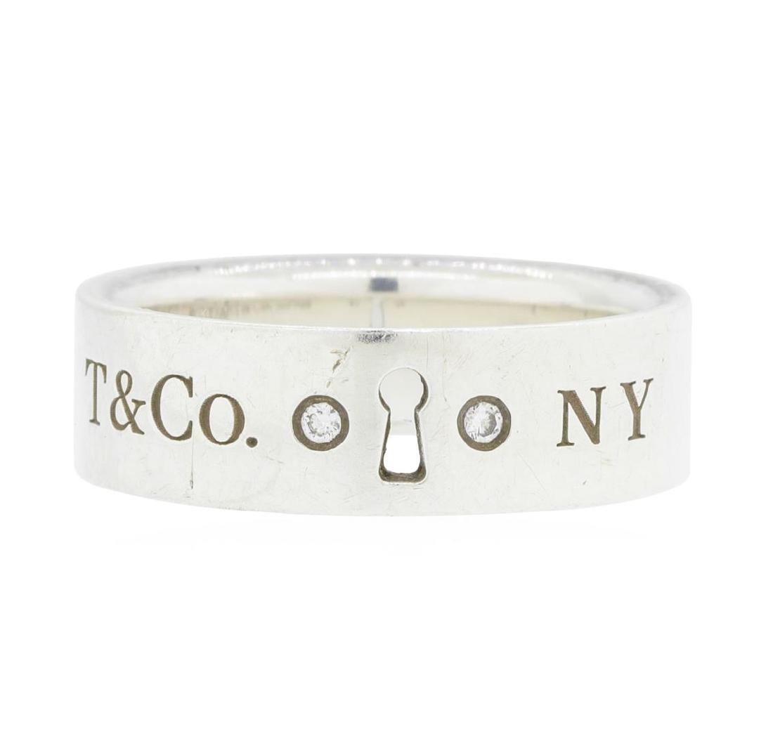 Tiffany & Co. Silver 0.02ctw Diamond Keyhole Ring