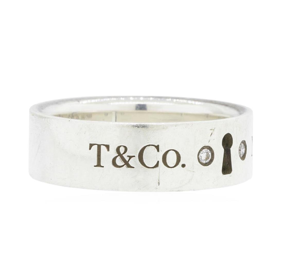 Tiffany & Co. Silver 0.02ctw Diamond Keyhole Ring - 2