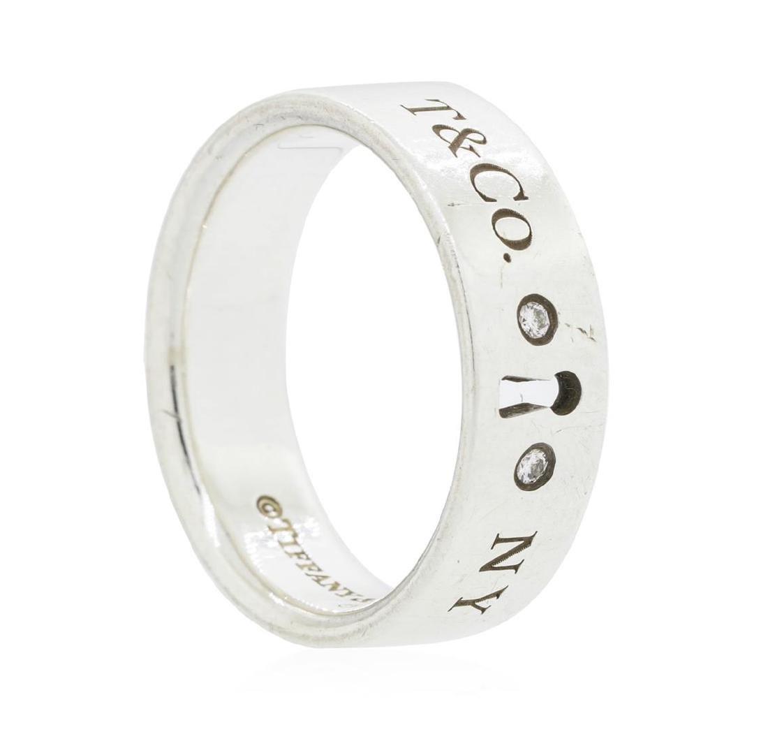 Tiffany & Co. Silver 0.02ctw Diamond Keyhole Ring - 3