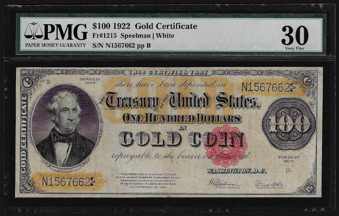1922 $100 Gold Certificate Note PMG Very Fine 30
