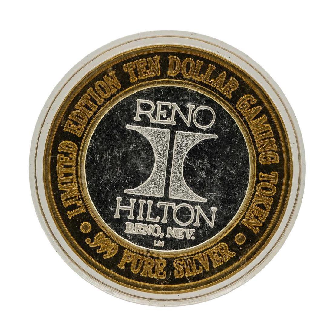 .999 Silver Hilton Reno, Nevada $10 Casino Limited - 2