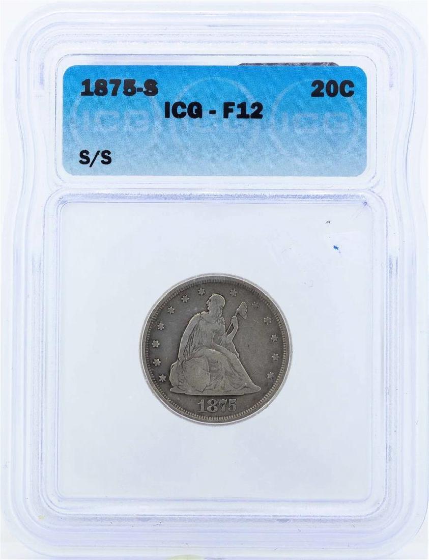 1875-S Seated Liberty Twenty Cent Piece Coin ICG F12