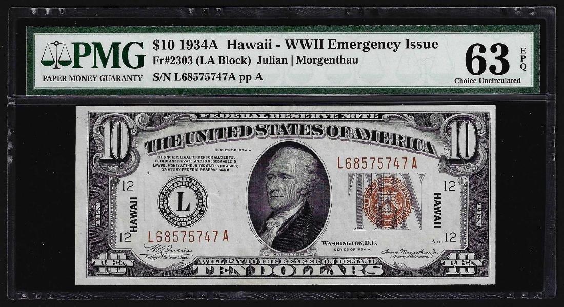 1934A $10 Federal Reserve Emergency Hawaii Note PMG