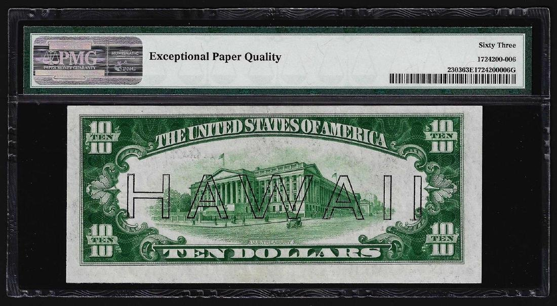 1934A $10 Federal Reserve Emergency Hawaii Note PMG - 2