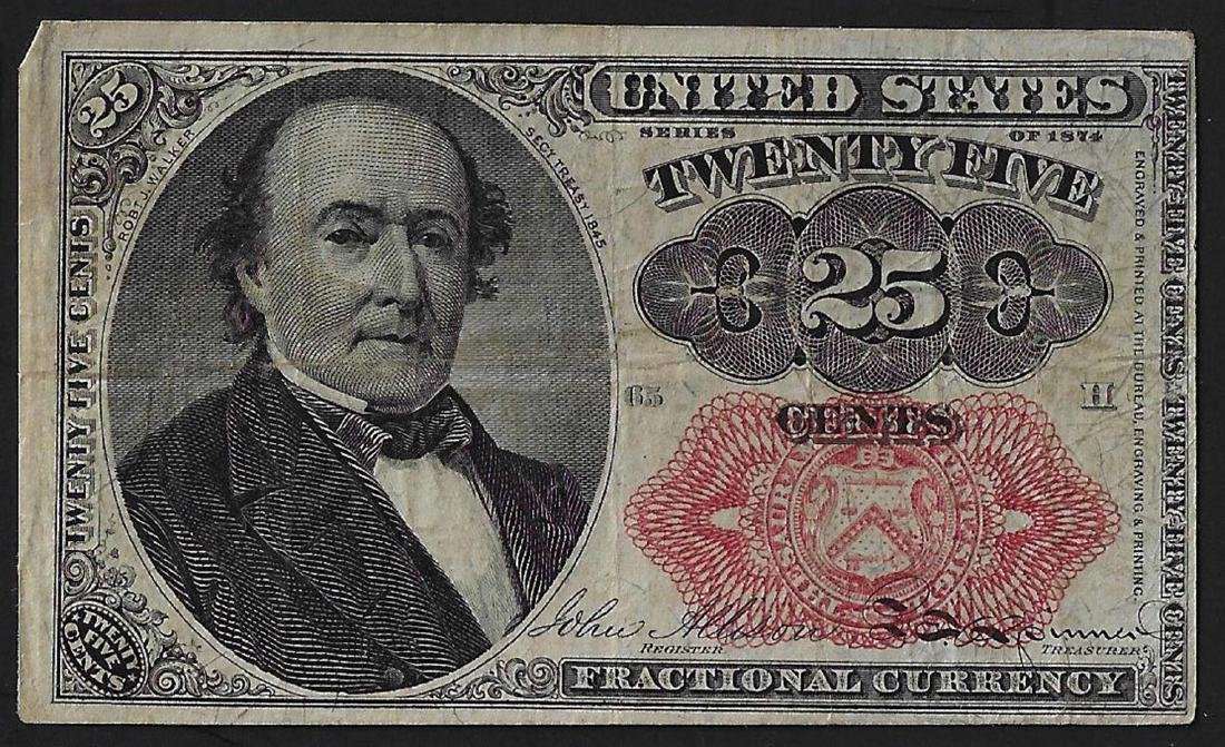 1874 Twenty-Five Cent Fifth Issue Fractional Note