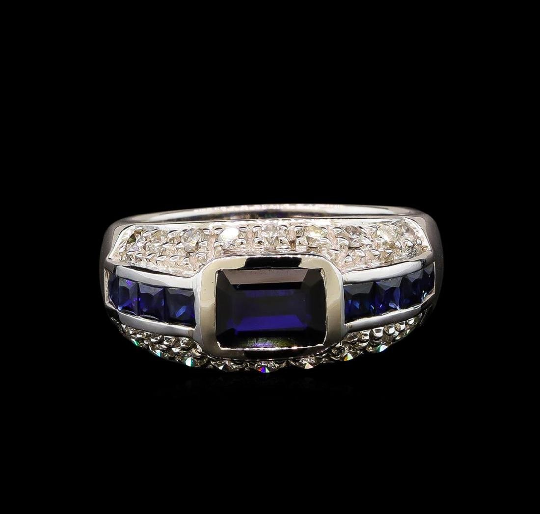14KT White Gold 1.86ct Blue Sapphire and Diamond Ring
