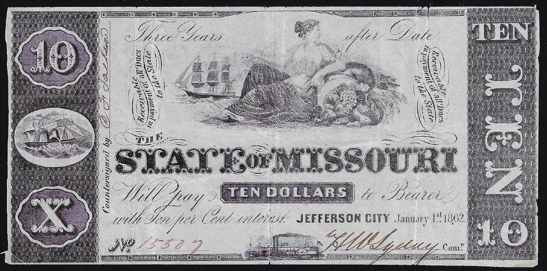 1862 $10 The State of Missouri Obsolete Bank Note