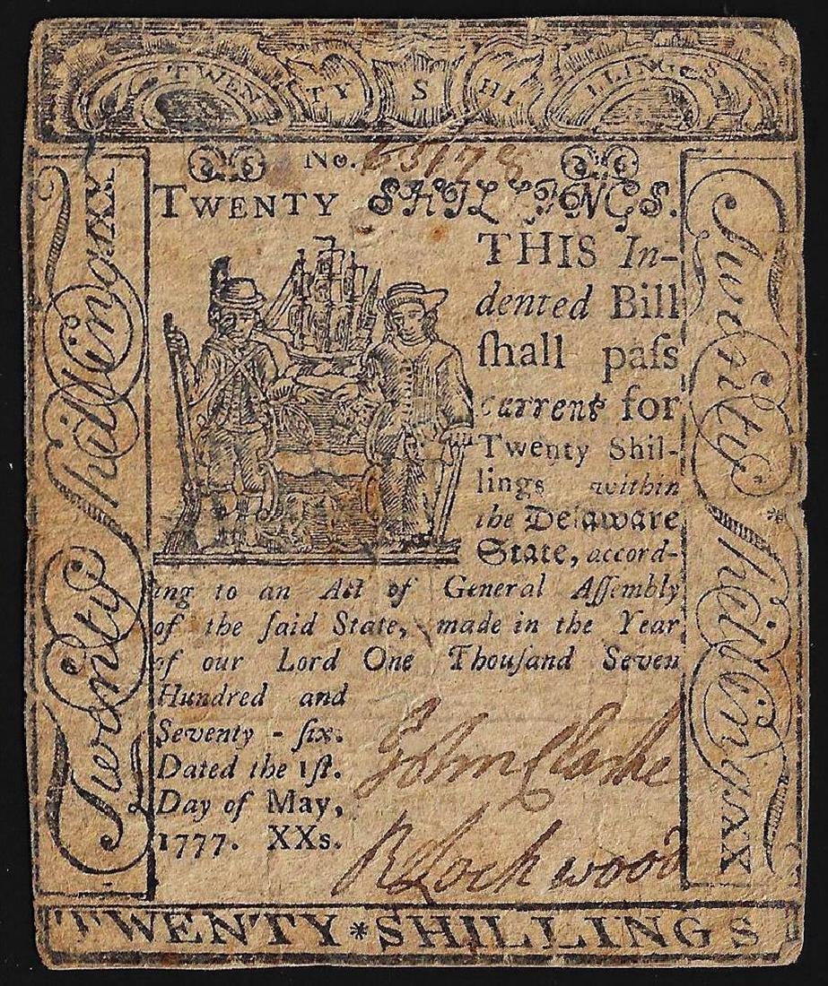 May 1, 1777 Twenty Shillings Delaware Colonial Currency