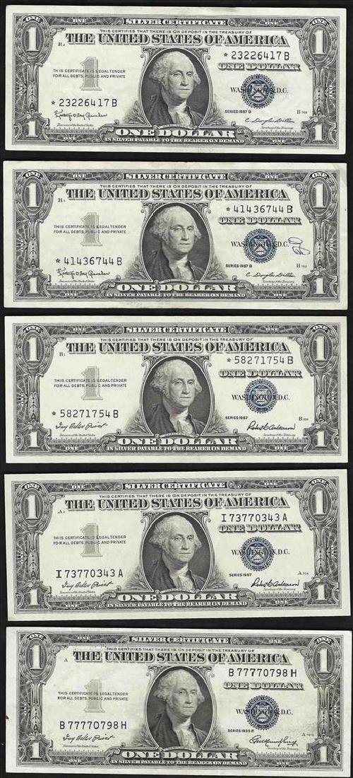 Lot of (5) 1935 & 1957 $1 Silver Certificate Notes
