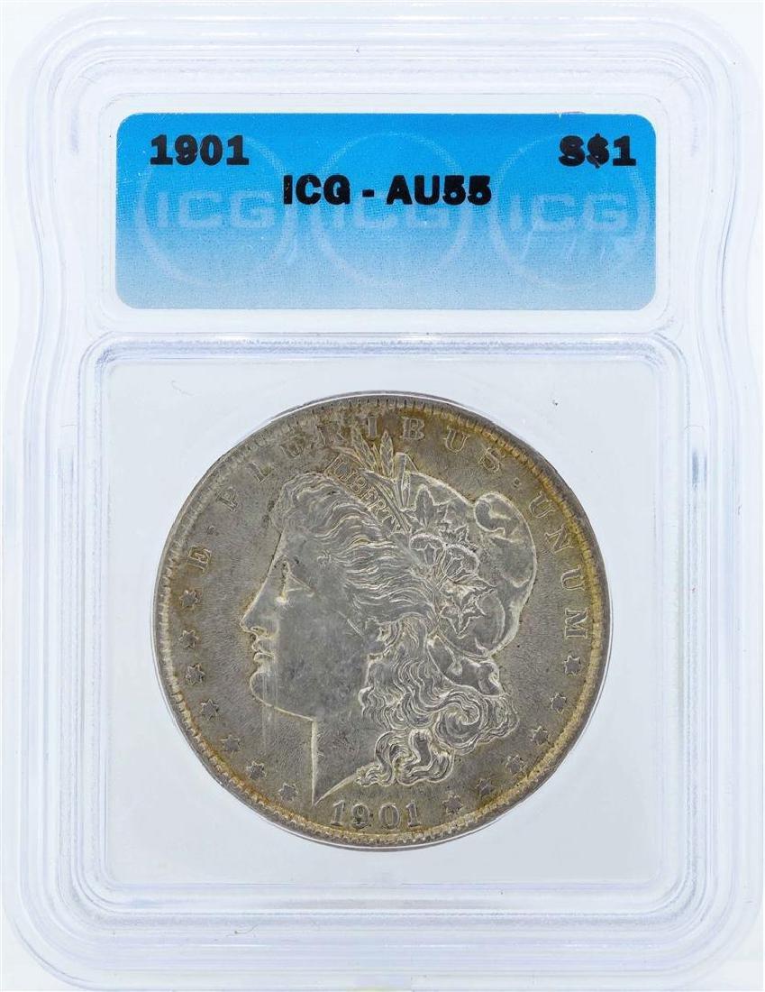 1901 $1 Morgan Silver Dollar Coin ICG AU55
