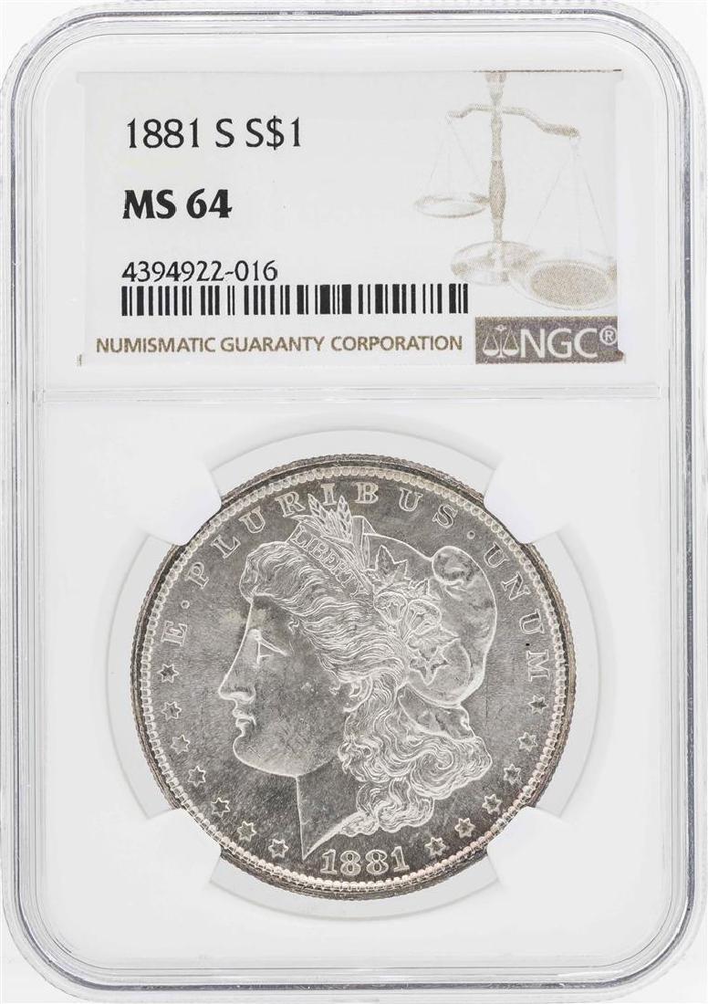 1881-S $1 Morgan Silver Dollar Coin NGC MS64
