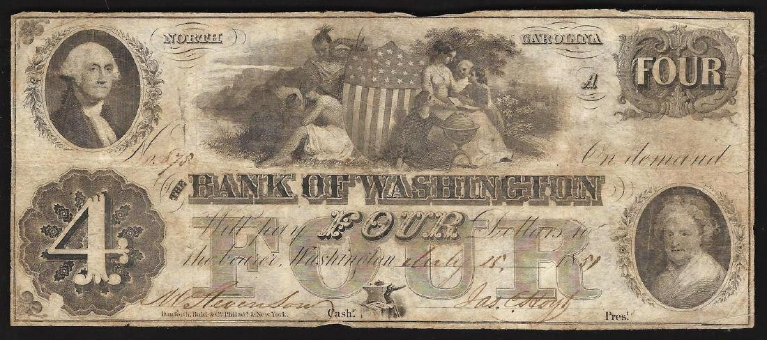 1850s $4 The Bank of Washington Obsolete Bank Note