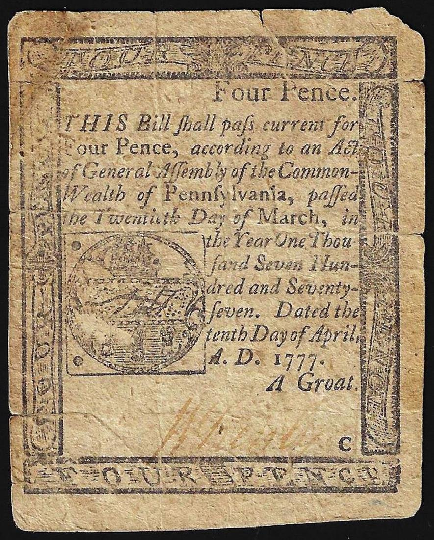 1777 Pennsylvania Four Pence Colonial Currency Note