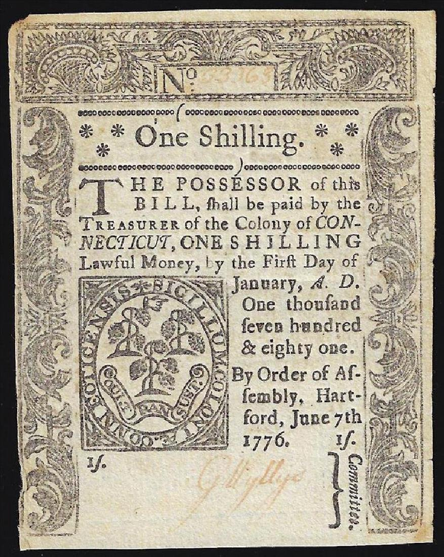 June 7, 1776 One Shilling Connecticut Colonial Currency