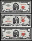 Lot of 3 Consecutive 1963A 2 Legal Tender STAR Notes