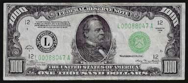 1934A $1,000 Federal Reserve Note San Francisco