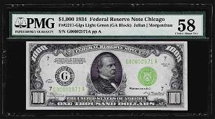 1934 $1,000 Federal Reserve Note Chicago Light Green