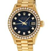 Ladies Rolex Quickset 18K Yellow Gold Blue Vignette