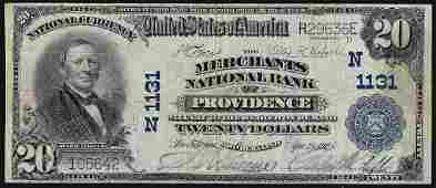 1902 20 Providence Rhode Island National Bank Note CH