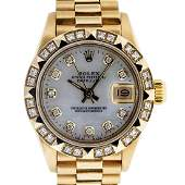 Rolex Ladies President 18K Yellow Gold 0.50ctw Diamond