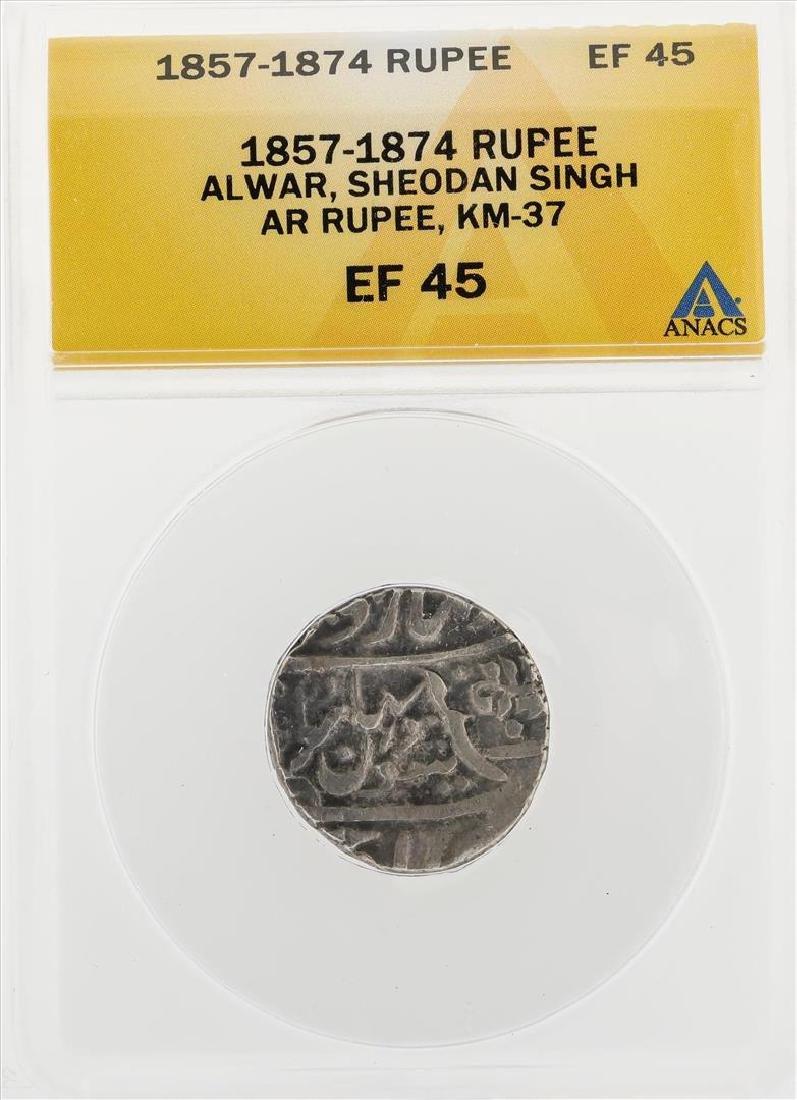 1857-1874 Rupee Alwar Sheodan Singh AR KM-37 Coin ANACS