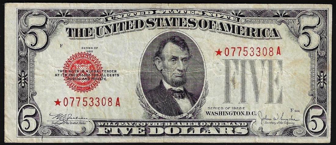 1928E $5 Legal Tender STAR Note