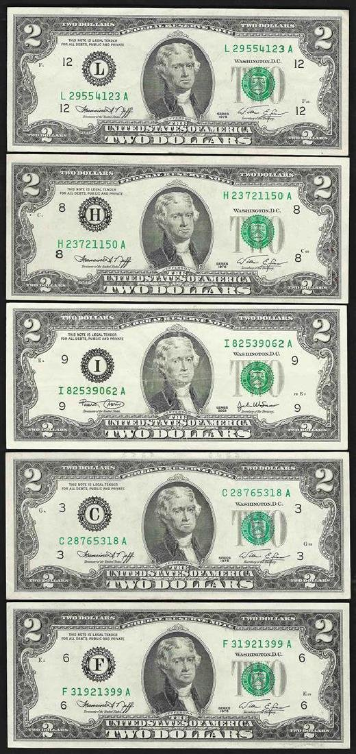 Lot of (5) 1976 $2 Federal Reserve Notes
